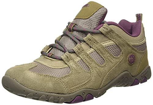 Hi-Tec QUADRA II Womens Walking Shoe, LT Taupe Grape Wine, 5 UK