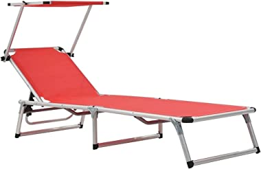 vidaXL Folding Sun Lounger with Roof Lounge Bed Outdoor Garden Patio Balcony Seating Chaise Lounge Daybed Collapsible Alumini