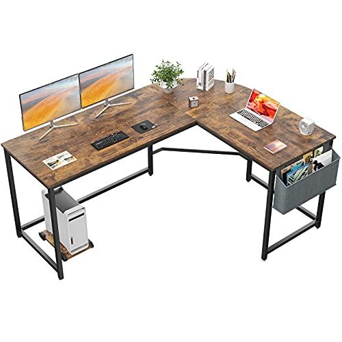 Homfio L Shaped Desk 58'' Computer Corner Desk Gaming Desk PC Table Writing Large L Study Desk Home Office Workstation Modern Simple Multi-Usage Desk with Storage Bag Space-Saving Table, Rustic Brown