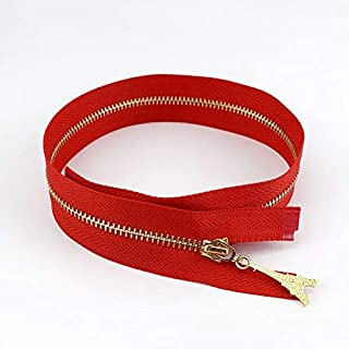 JWJY 10/30pcs 3# Metal Zipper Open End 40/50/60/70cm DIY Puller Zip for Sewing Bags Purse Down Jacket Skirt Clothing Accessory (Color : Red, Size : 30pcs)