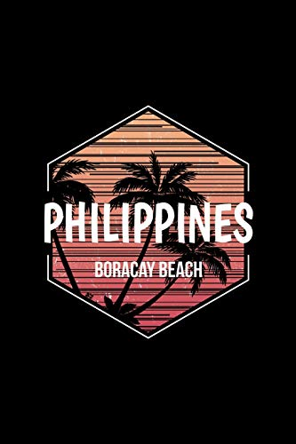 Boracay Beach Philippines: Notebook With Lined College Ruled Paper For Work, Home Or School. Stylish Retro Palm Tree Travel Journal Diary 6 x 9 Inch Soft Cover. [Idioma Inglés]