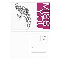 鳥は孔雀カラフルペイント ポストカードセットサンクスカード郵送側20個ミス