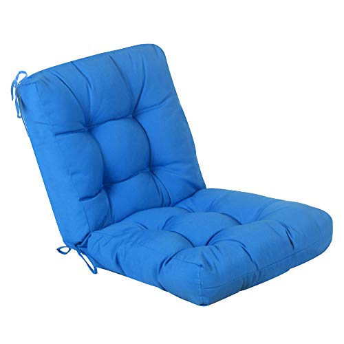 QILLOWAY Outdoor Seat/Back Chair Cushion Tufted Pillow, Spring/Summer Seasonal All Weather Replacement Cushions. (Marine Blue)