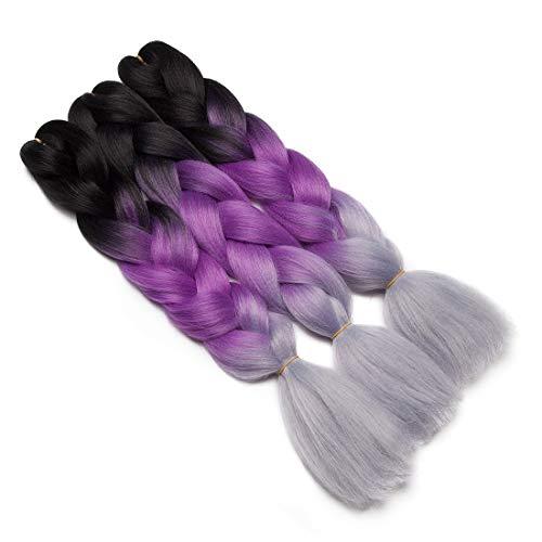 Preisvergleich Produktbild Haarverlängerung 60cm Crochet Braids Two Tone Ombre Braiding Haar Synthetik Braid 3 Pcs / 300g - schwarz bis lila bis silbergrau