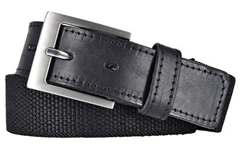 Bovino by Bernd Götz Herren Leder Gürtel 35 mm breit schwarz Stretchgürtel mit Lederapplikation (95 cm)
