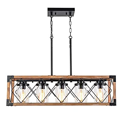 """Trongee 32.7"""" Kitchen Island Lighting, Farmhouse Dining Room Chandelier, Industrial Black Metal and Wood Pendant Light Fixture with Glass Lampshade for Living Room Bar Restaurant Bedroom, 5-Light"""
