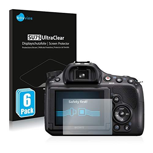Savvies 6X Schutzfolie kompatibel mit Sony Alpha 58 (SLT-A58) Bildschirmschutz-Folie Ultra-transparent