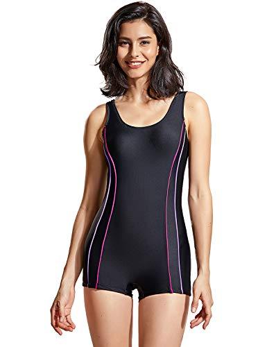 DELIMIRA Damen Einteiler Badeanzug Bademode Schwimmanzug mit Bein Schwarz 44