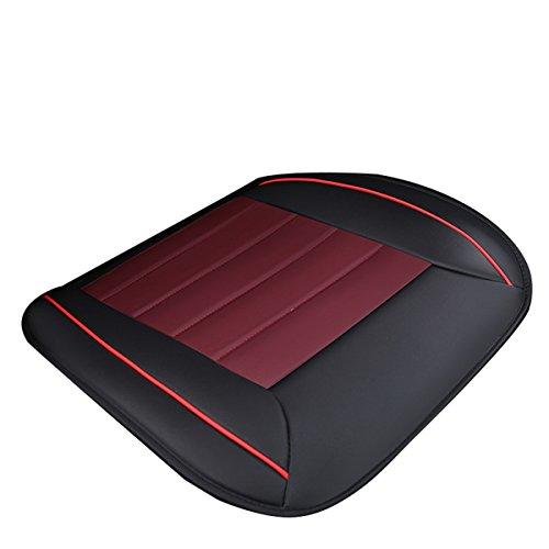 WINOMO Auto Sitzkissen Universal Leder Front Auto Sitzbezug Matte (Schwarz + Rot)