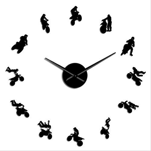 FYGEX Reloj de Pared Motocross Stickers DIY Reloj de Pared D