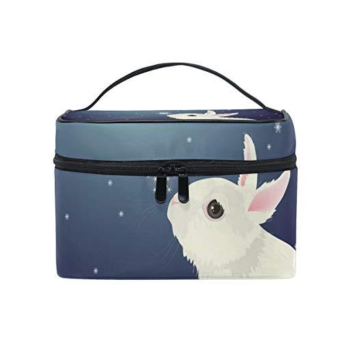 Trousse de maquillage, trousse de toilette en forme de lapin mignon, grande poignée de voyage, cadeau idéal pour adolescente, femme