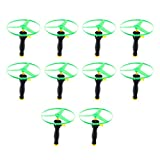BESPORTBLE 10pcs Pull String Flying Disc Pull Cord UFO Flying Saucers Helicopters Funny Outdoor Toys for Kids Children (Random Color)