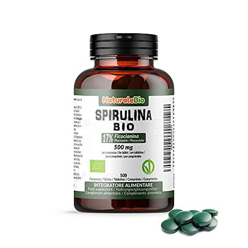 Alga Espirulina Ecológica en Comprimidos de 500mg (500 Tabletas). 100% Orgánica, Natural y Pura, Ficocianina 17%. Cultivada en India en Tamil Nadu. Apto para vegetarianos y veganos. NATURALEBIO