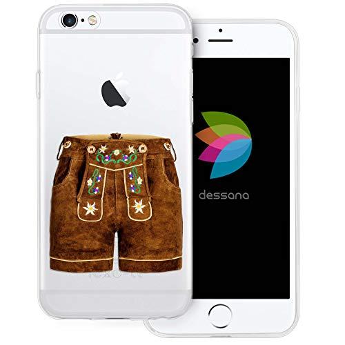 dessana Oktoberfest München Transparente Silikon TPU Schutzhülle 0,7mm dünne Handy Tasche Soft Case für Apple iPhone 6/6S Lederhose kurz