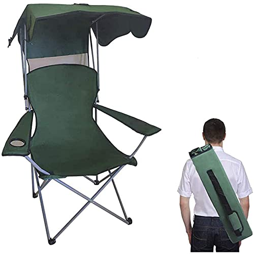 Camping Chairs Portable Quad Lawn Chair for Adults, Folding Recliner Chair with Shade and Cup Holder Outdoor Events,Support 400...
