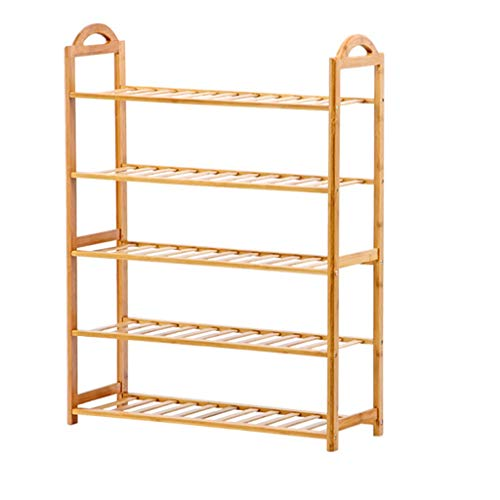 Kiter Shoe Racks Bamboo Shoe Rack 5 Layers Of Wooden Self-standing Storage 17 Pairs Of Shoes Organizer Boots Door Bathroom Balcony Storage Shoe Shelf (Color : Natural)