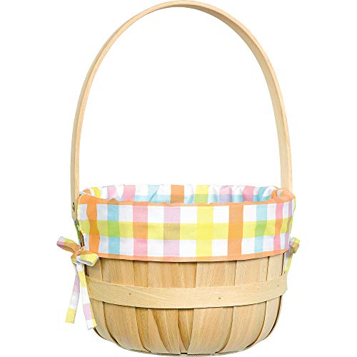 Why Should You Buy Amscan Round Wooden Easter Basket With Plaid Pastel Liner, 14 x 9 1/4, Pink