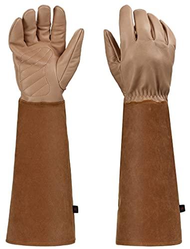 Guantes de poda de rosa, guantes de jardinería a prueba de espinas de manga larga para hombres y mujeres, guantes de piel de oveja transpirable
