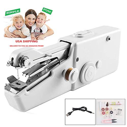 EEX Mini Portátil Máquina de Coser de Mano Eléctrica Inalámbrica para Niños Principiantes Costura Doméstica o de Viaje, Reparaciones Fáciles y Rápidas para Todo Tipo de Telas (Blanco, USB Cable)