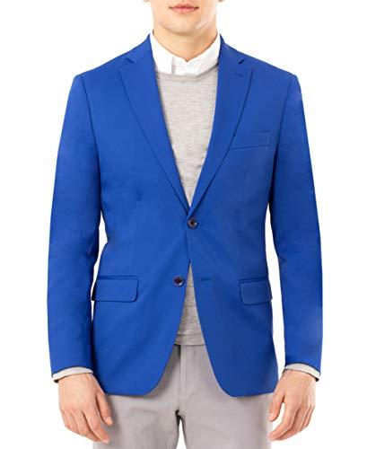 Perry Ellis mens Slim Fit Separate (Blazer, Pant, and Vest) Business Suit Jacket, Solid Bright Blue Blazer, 46 Long US