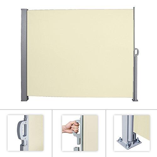 huigou HG® Seitenmarkise 160x300cm Sichtschutz Windschutz Vollkassette für Camping Balkon Vollkassette Aluminium Markise UV TÜV geprüft Polyester beige
