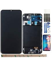 """YHX-OU 6.4"""" Voor AMOLED Samsung Galaxy A20 2019 A205F A205A SM-A205FN/DS A205 LCD-scherm touchscreen vervangend scherm met compleet gereedschap (zwart + frame)"""