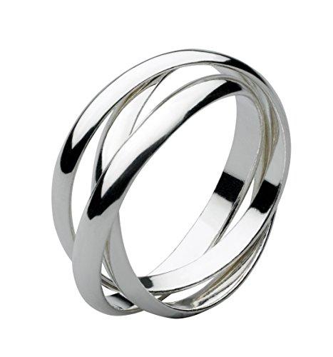 Dew Women's Sterling Silver Russian Wedding Ring Size:M