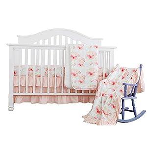 Sahaler Blush Mint Girls Crib Bedding Set Boho Bohemian Floral Nursery Baby Bedding Stand Crib Sheet Floral Ruffled Crib Skirt Crib Rail Cover