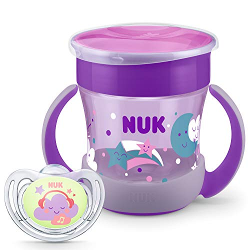 NUK Perfect Night Sammlung | Mini Magic Cup Trinklernbecher und Freestyle Night Schnuller | 6+ Monate | BPA-frei | 160 ml | Lila