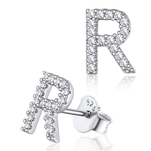 925 Plata Pendientes de Letras R con Circones, Pendientes Plata Pequeños