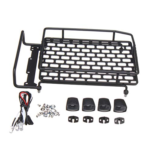 P Prettyia Aluminum Alloy Roof Rack with LED Light for 1/16 1/10 1/8 RC Rock