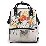 Cow Print Floral Cow Floral Crown Diaper Bag Backpack,Baby Bags, Multi-Functional Travel Back Pack, Waterproof Maternity Nappy Bag Changing Bags with Insulated Pockets Stroller Straps