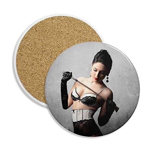 Peitsche Uniform SM Naked Big Brust Stein Drink Keramik Untersetzer für Tasse Geschenk 2