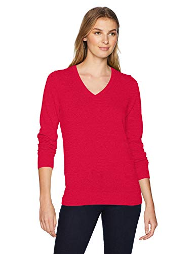Amazon Essentials Women's Lightweight Long-Sleeve V-Neck Sweater, red, Small