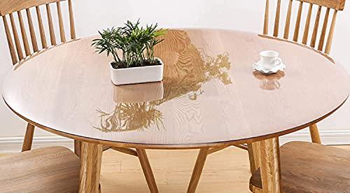 ZZeng RS - Copritavolo rotondo, in PVC trasparente, antiscivolo, impermeabile, per tavolo da pranzo, 120 cm