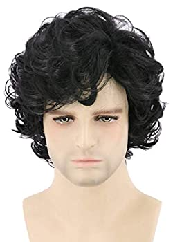 Topcosplay Mens Wigs Black Short Curly Cosplay Halloween Character Costume Wig Layered