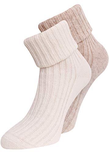 kb-Socken - 2 Paar Wollsocken Damen verschiedene Farben warme farbige Wintersocken Socken Strümpfe aus Wolle bunt gestrickt Bettsocken 35-38 39-42 (35-38, Weiß/Beige)