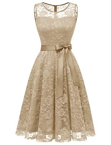 Dressystar DS0009 Abendkleid Ärmellos Kurz Brautjungfern Kleid Spitzen Rundhals Damen Kleider Champagner S