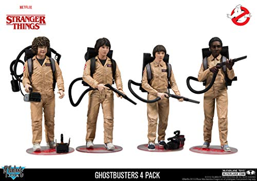 McFarlane Stranger Things - Pack de Figuras Dustin, Mike, Will & Lucas Ghostbusters 4, 15 cm