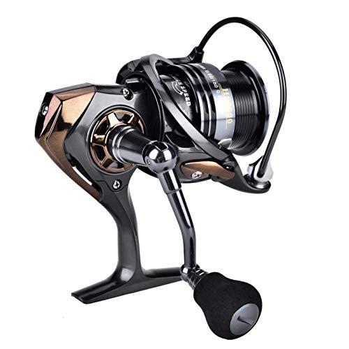 DAUERHAFT Carretes de Pesca Carrete de Gota de Agua de Pesca Negro 7.1: 1 Relación de transmisión Aleación de Aluminio + EVA, para Pesca en el mar(Upgraded HS3000)