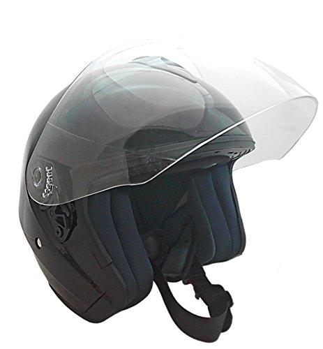 KEN ROD Casco para Moto | Jet Casco Sprint | Casco de Motocicleta Abierto | Casco Jet Abierto | Casco Moto Jet Visera | Color Negro | Talla M