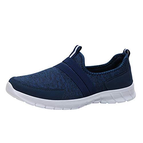 Luckhome Socken Damen Sneaker Socken Herren Schuhe Herren Sneaker Turnschuhe Art- und Weisemaschen-weiche runde Hauptunterseiten-gesetzter Fuß-beiläufige Sportschuhe Faule Schuhe(Dunkelblau,EU:40)