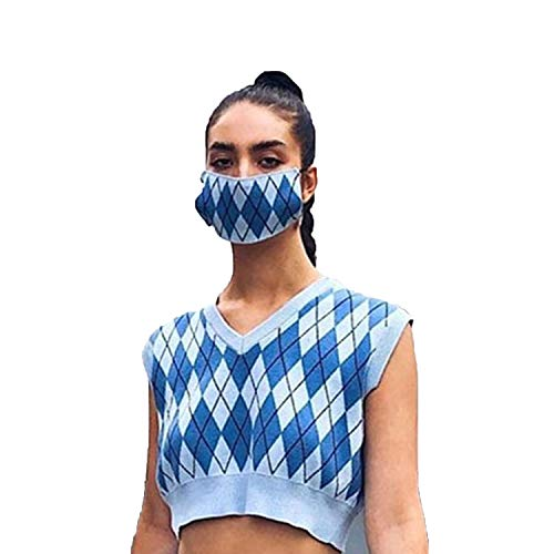Plaid Knitted Tank Top Female Sweater Vest Preppy Style Y2K Clothes V Neck 90s Cropped Knitwear-Blue-top-M