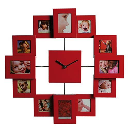 Preis am Stiel Wanduhr für 12 Fotos - rot | Groß | Design | Uhren | Bilderrahmen | für Wohnzimmer | Dekoration | Schmücken | Küchenuhr