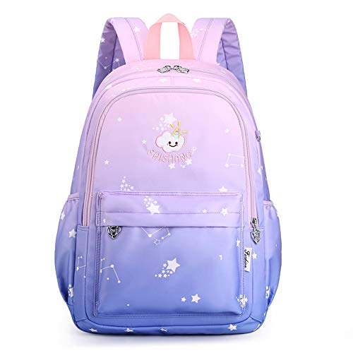 Mochila arcoíris degradada para niñas, linda mochila preescolar para niños, mochila escolar de jardín de infantes, mochila de regalo, mochila-darkbluepowder