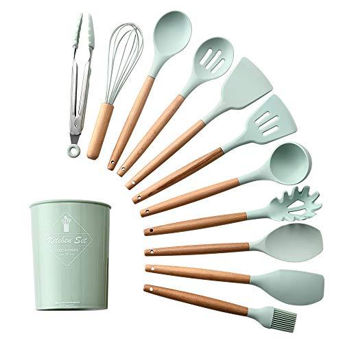 Juego de utensilios de cocina de silicona con asas de madera