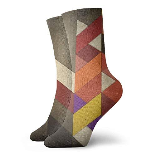 Drempad Calcetines de Vestir Unisex Retro Geometric Plank Funny Polyester Crew Socks 11.8 Inch