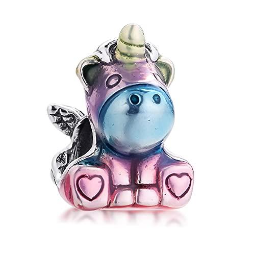 BAKCCI 2021 primavera colorido arco iris Bruno The Unicorn Bead 925 plata...
