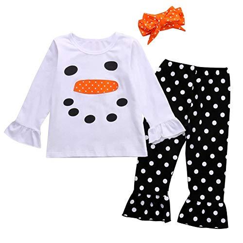 Wide.ling 3 STKS Peuter Kid Baby Meisje Kerstmis Lange mouwen Sneeuwman Shirt Pullover Polka Dot Flared Broek Outfit Set