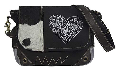 Domelo Dirndl Tasche Umhängetasche Oktoberfest Damen Accessories klein Trachtentasche mit Herz schwarz Geschenke für Teenager Mädchen Crossbody Bag Vintage Retro Handtasche aus Canvas, Leder & Fell